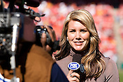 KANSAS CITY, MO - NOVEMBER 2:  Fox Sports sideline reporter Charissa Thompson during a game between the Tampa Bay Buccaneers and Kansas City Chiefs at Arrowhead Stadium on November 2, 2008 in Kansas City, Missouri.  The Bucaneers defeated the Chiefs 30-27 in overtime.  (Photo by Wesley Hitt/Getty Images) *** Local Caption ***