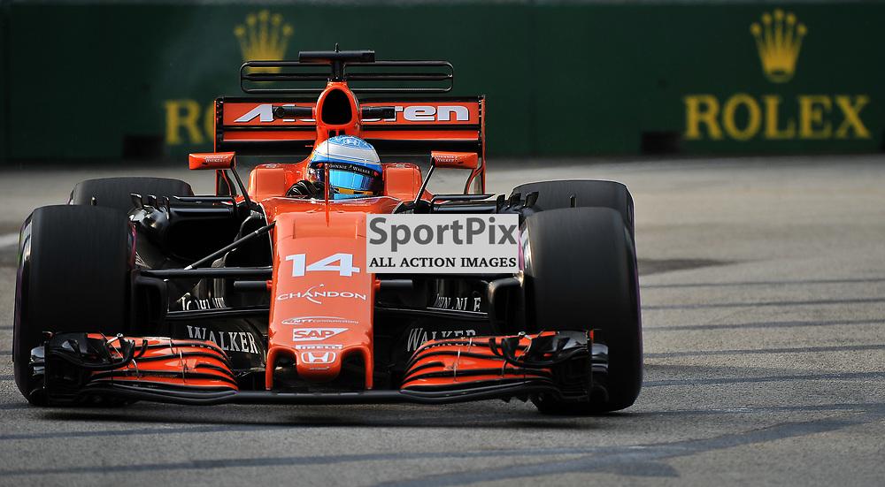 Fernando Alonso, McLaren Honda Formula 1 Team.<br /> Day 2 of the 2017 Formula 1 Singapore Airlines, Singapore Grand Prix held at The Marina Bay street circuit, Singapore on the 15th September 2017.<br /> Wayne Neal | SportPix.org.uk