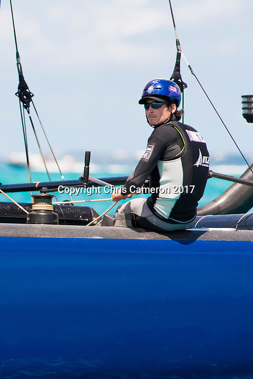 The Great Sound, Bermuda, 20th June 2017, Red Bull Youth America's Cup Finals. Race three, NZL Sailing Team.helmsman Logan Dunning Beck.