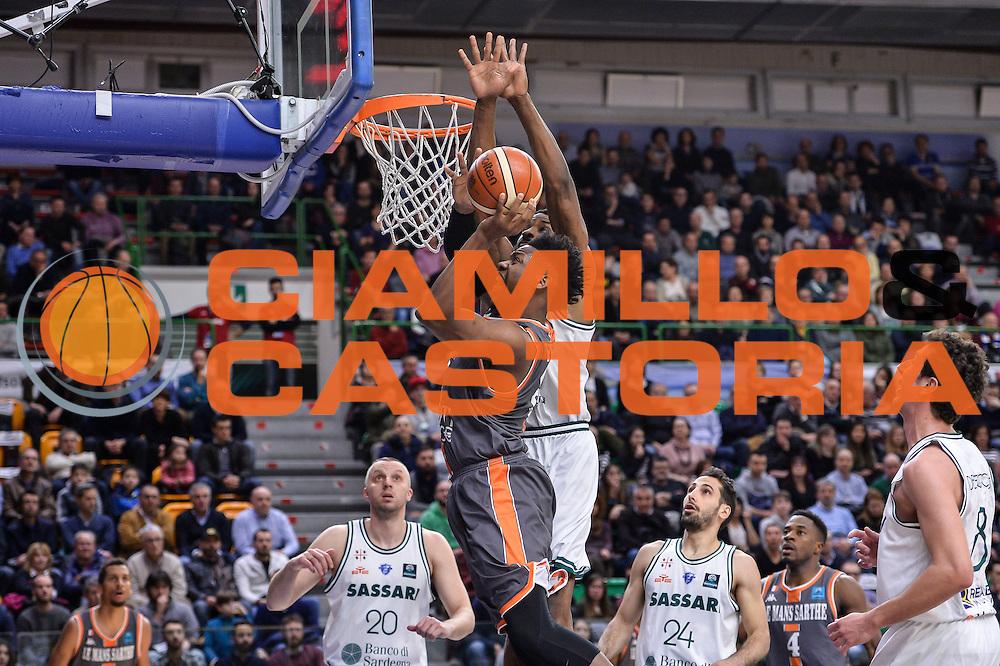 Wilfried Yeguete, Gani Lawal<br /> Banco di Sardegna Dinamo Sassari - Le Mans Sarthe<br /> FIBA Basketball Champions League 2016/2017<br /> Ottavi di Finale<br /> Sassari 01/03/2017<br /> Foto Ciamillo-Castoria