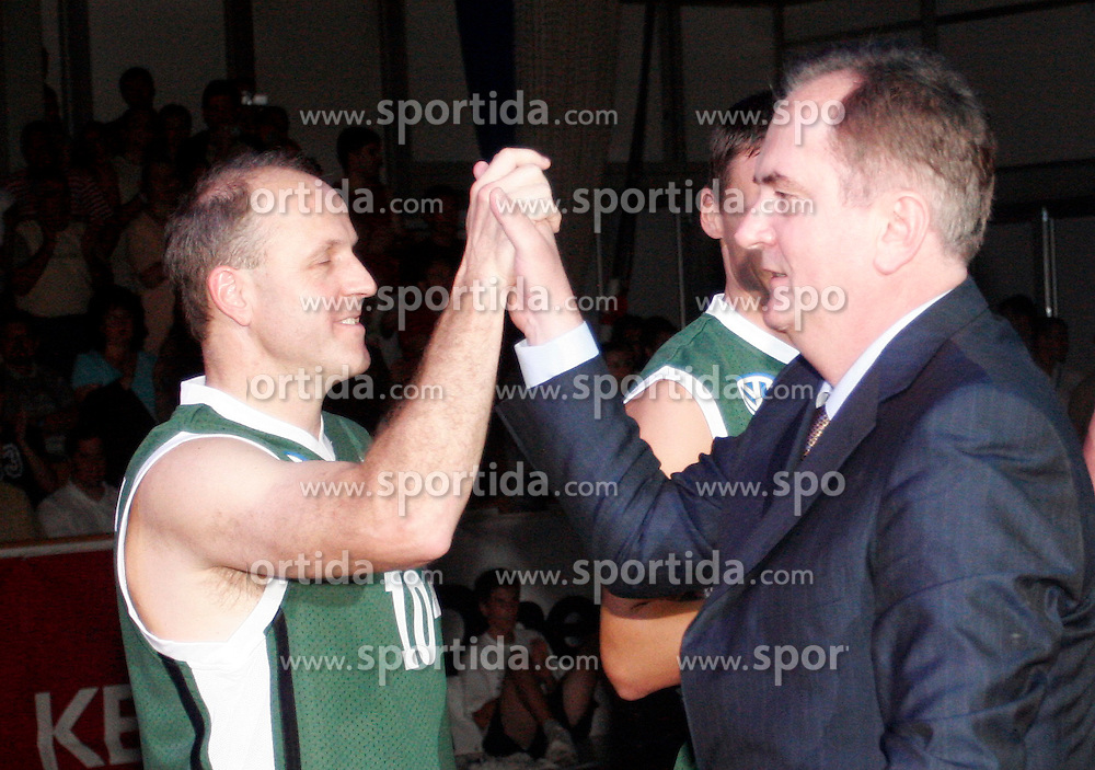 Dusan Hauptman and coach Bozidar Maljkovic at Vecer Velikanov basketball friendly match,  on June 29, 2005, in Hala Tivoli, Ljubljana, Slovenia. Z (Photo by Vid Ponikvar / Sportida)