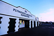 General view outside Home Park stadium with a view of the club superstore ahead of the EFL Sky Bet League 2 match between Plymouth Argyle and Crawley Town at Home Park, Plymouth, England on 28 January 2020.