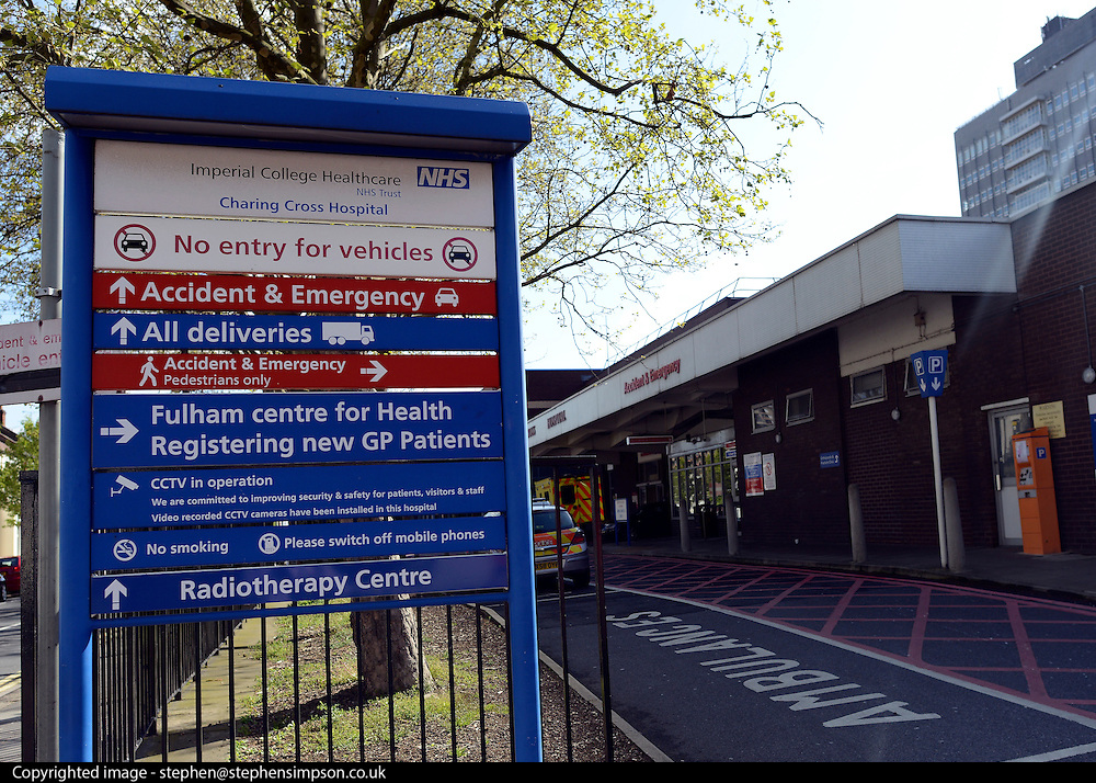 © Licensed to London News Pictures. 22/04/2012. Hammersmith, UK . The main entrance to A&E at Charing Cross Hospital where Mr Fergusson presented himself. General Views taken today 22 April 2012 of Hammersmith Cemetery. Doctors are battling to save the sight of a senior British diplomat mugged while walking through the cemetery on Friday night (20/04/12). Bermuda's new Governor George Fergusson may lose his vision in his left eye after being attacked by a man in Hammersmith Cemetery, west London, said police. Photo credit : Stephen Simpson/LNP
