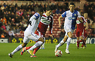 Picture by Paul Gaythorpe/Focus Images Ltd +447771 871632.26/12/2012.Martin Olssen of Blackburn Rovers and Emmanuel Ledesma of Middlesbrough during the npower Championship match at the Riverside Stadium, Middlesbrough.