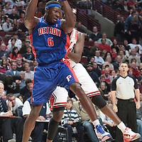 30 October 2010: Detroit Pistons Ben Wallace grabs a rebound during the Chicago Bulls 101-91 victory over the Detroit Pistons at the United Center, in Chicago, Illinois, USA.
