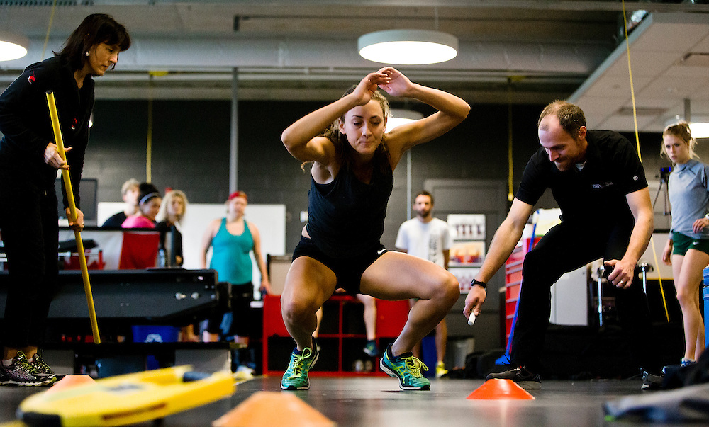 Samantha Murphy does a two legged triple broad jump for distance which highly correlates to sprint speed at the Pacific Institute for Sport Excellence on December 3rd, 2015 in Victoria, British Columbia Canada.