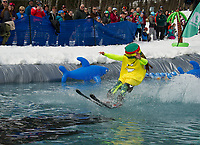 """Owen Pethic the """"Rasta-Banana"""" runs out of steam crossing the pond during Gunstock Mountain's BYODC pond skim on Saturday.  (Karen Bobotas/for the Laconia Daily Sun)"""