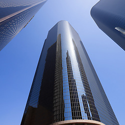 Upward view photo of downtown Los Angeles skyscraper office buildings in Southern California in the United States.