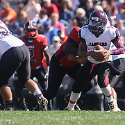 Appoquinimink quarter back Kenyon Yellowdy (3) attempts a pass in the second quarter Saturday, Oct. 10, 2015 at Bill Cole Stadium in New Castle, DE.