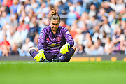 Manchester United Women goalkeeper Mary Earps (27) down injured during the FA Women's Super League match between Manchester City Women and Manchester United Women at the Sport City Academy Stadium, Manchester, United Kingdom on 7 September 2019.