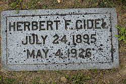 31 August 2017:   Veterans graves in Park Hill Cemetery in eastern McLean County.<br /> <br /> Herbert F Cidel July 24 1895  May 4 1926