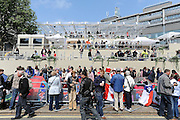 © under license to London News Pictures. LONDON, UK  28/04/2011. The Royal Wedding of HRH Prince William to Kate Middleton.  The media stand outside Westminster Abbey. Photo credit should read Stephen Simpson/LNP.