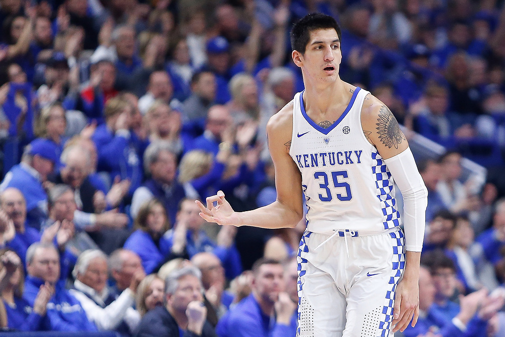 Kentucky Wildcats forward Derek Willis celebrates a three pointer against the Kansas Jayhawks on Saturday January 28, 2017 at Rupp Arena in Lexington, Ky. Photo by Michael Reaves | Staff