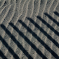 The shadow of a dune fence is cast across the sand in Chincoteague, Virginia.