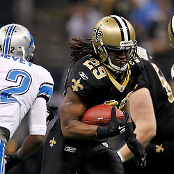 January 7, 2012; New Orleans, LA, USA; New Orleans Saints running back Chris Ivory (29) runs against the Detroit Lions during the 2011 NFC wild card playoff game at the Mercedes-Benz Superdome. Mandatory Credit: Derick E. Hingle-US PRESSWIRE
