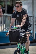 Men Elite #192 (VAN DER BURG Dave) NED arriving on race day at the 2018 UCI BMX World Championships in Baku, Azerbaijan.