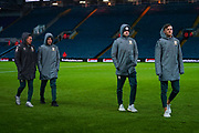 Leeds United forward Jack Clarke (47) Leeds United midfielder Kalvin Phillips (23) Leeds United forward Patrick Bamford (9) and Leeds United defender Ben White (5) arrive at the ground during the EFL Sky Bet Championship match between Leeds United and Hull City at Elland Road, Leeds, England on 10 December 2019.
