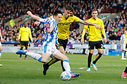 Huddersfield Town midfielder Joe Lolley (18) shoots on goal during the EFL Sky Bet Championship match between Huddersfield Town and Burton Albion at the John Smiths Stadium, Huddersfield, England on 1 April 2017. Photo by Richard Holmes.