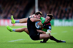 Tom Hendrickson of Exeter Chiefs is tackled by Cadan Murley of Harlequins - Mandatory by-line: Ryan Hiscott/JMP - 19/10/2019 - RUGBY - Sandy Park - Exeter, England - Exeter Chiefs v Harlequins - Gallagher Premiership Rugby