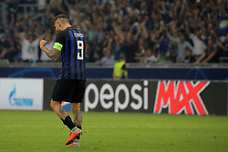 September 18, 2018 - Milan, Milan, Italy - Mauro Icardi #9 of FC Internazionale Milano celebrate a victory at the end of the UEFA Champions League group B match between FC Internazionale and Tottenham Hotspur at Stadio Giuseppe Meazza on September 18, 2018 in Milan, Italy. (Credit Image: © Giuseppe Cottini/NurPhoto/ZUMA Press)