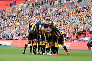 Morpeth players celebrate during the FA Vase match between Hereford FC  and Morpeth Town at Wembley Stadium, London, England on 22 May 2016. Photo by Dennis Goodwin.