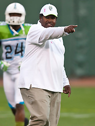 October 17, 2009; San Francisco, CA, USA;  California Redwoods head coach Dennis Green before the game against the New York Sentinels at AT&T Park.