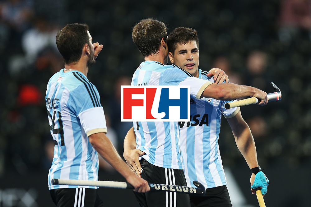 LONDON, ENGLAND - JUNE 16:  Gonzalo Peillat (R) of Argentina celebrates scoring his team's fourth goal with team mate Facundo Callioni during the Pool A match between Argentina and Malaysia on day two of Hero Hockey at Lee Valley Hockey and Tennis Centre on June 16, 2017 in London, England.  (Photo by Alex Morton/Getty Images)