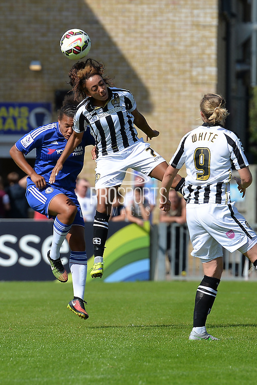 Notts County Ladies forward Jess Clarke wins the header during the FA Women's Super League match between Chelsea Ladies FC and Notts County Ladies FC at Staines Town FC, Staines, United Kingdom on 6 September 2015. Photo by Mark Davies.