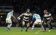 Twickenham, United Kingdom, Scott FARDY, supported by, Nemaini NADOLO, confronrd by left, Nicolas SANCCHEZ and Santiago CORDERO, during the Killik Cup Match, Barbarians vs Argentina, RFU Stadium, Twickenham, England,<br /> <br /> Saturday    21/11/2015  <br /> <br /> [Mandatory Credit; Peter Spurrier/Intersport-images]