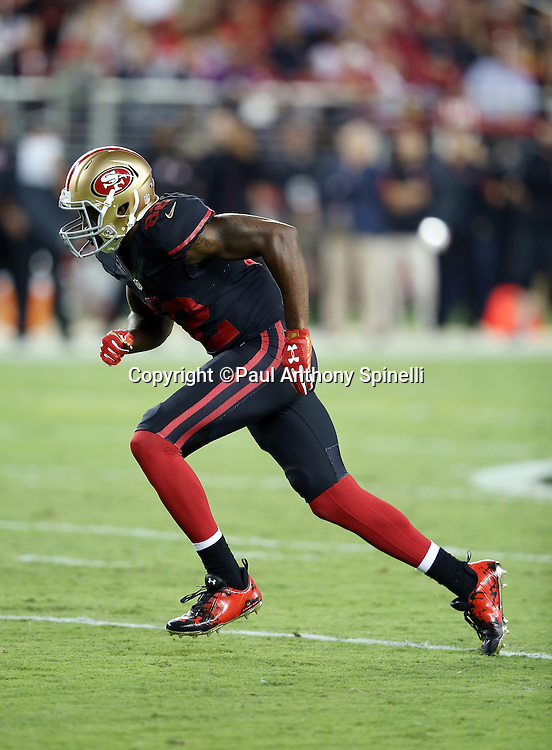 San Francisco 49ers wide receiver Torrey Smith (82) goes out for a pass during the 2015 NFL week 1 regular season football game against the Minnesota Vikings on Monday, Sept. 14, 2015 in Santa Clara, Calif. The 49ers won the game 20-3. (©Paul Anthony Spinelli)