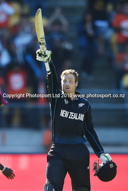 Martin Guptill celebrates his century during the ICC Cricket World Cup quarter final match between New Zealand Black Caps and the West Indies, Wellington, New Zealand. Saturday 21March 2015. Copyright Photo: Andrew Cornaga / www.Photosport.co.nz