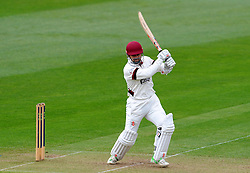 Somerset Johann Myburgh drives the ball.  - Photo mandatory by-line: Harry Trump/JMP - Mobile: 07966 386802 - 07/04/15 - SPORT - CRICKET - Pre Season - Somerset v Lancashire - Day 1 - The County Ground, Taunton, England.