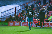 Swansea City midfielder Bersant Celina (10) in the bright sunlight casts a shadow during the EFL Sky Bet Championship match between Barnsley and Swansea City at Oakwell, Barnsley, England on 19 October 2019.