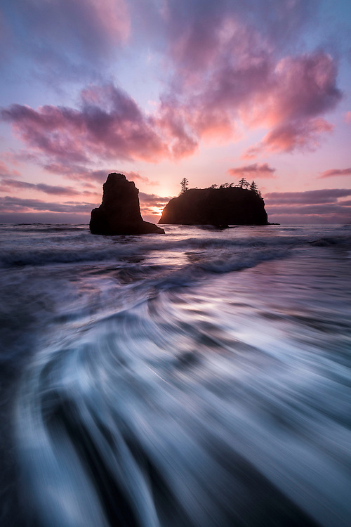 Sunset clouds over sea stacks, Ruby Beach, Olympic National Park, USA.