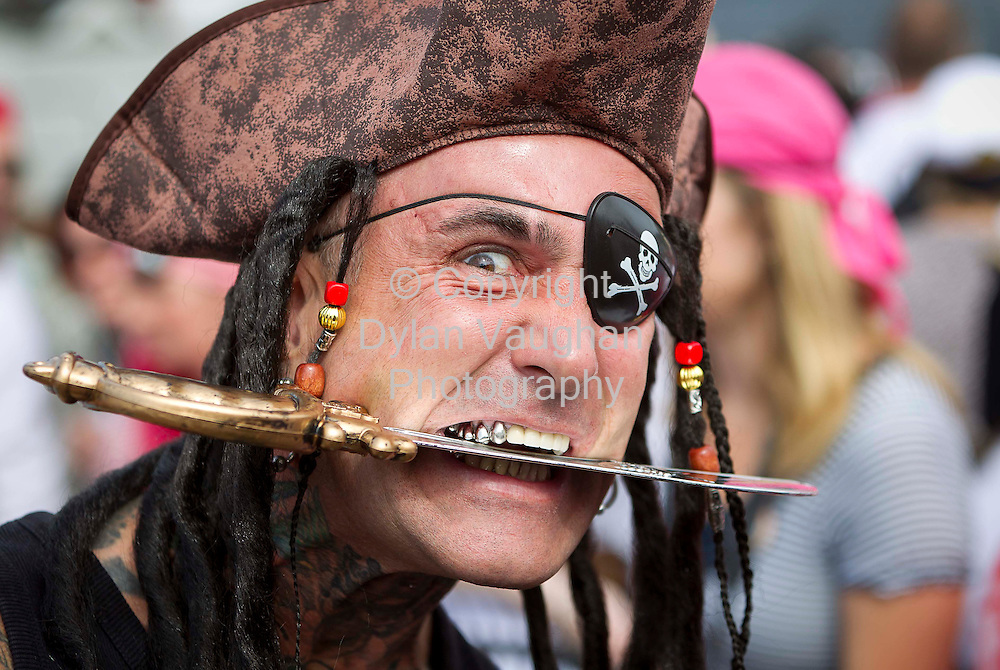 1/7/2011.no charge for repro.Sam Hodman from Waterford pictured at the Guinness World Record attempt at the most pirates in one place at the Tall Ships Races in Waterford yesterday..Picture Dylan Vaughan