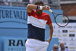 June 23, 2018 - London, England, United Kingdom - Marin Cilic of Croatia serves in the semi final singles match on day six of Fever Tree Championships at Queen's Club, London on June 23, 2018. (Credit Image: © Alberto Pezzali/NurPhoto via ZUMA Press)