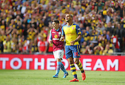 Arsenal's Theo Walcott goes close during the The FA Cup match between Arsenal and Aston Villa at Wembley Stadium, London, England on 30 May 2015. Photo by Phil Duncan.
