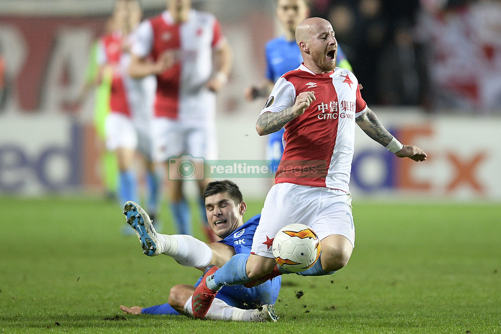 February 14, 2019 - Prague, CZECH REPUBLIC - Genk's Ruslan Malinovski and Slavia's Miroslav Stoch fight for the ball during a soccer game between Czech club SK Slavia Praha and Belgian team KRC Genk, the first leg of the 1/16 finals (round of 32) in the Europa League competition, Thursday 14 February 2019 in Prague, Czech Republic. BELGA PHOTO YORICK JANSENS (Credit Image: © Yorick Jansens/Belga via ZUMA Press)
