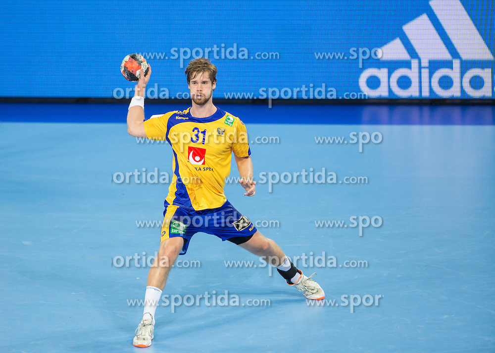 Viktor Ostlund of Sweden during handball match between National teams of Spain and Sweden on Day 6 in Preliminary Round of Men's EHF EURO 2016, on January 20, 2016 in Centennial Hall, Wroclaw, Poland. Photo by Vid Ponikvar / Sportida