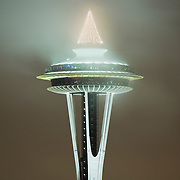 Christmas lights on top of Space Needle Seattle, Washington