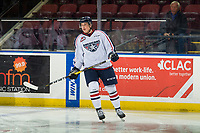 KELOWNA, CANADA - DECEMBER 5:  Blake Stevenson #18 of the Tri-City Americans warms up against the Kelowna Rockets on December 5, 2018 at Prospera Place in Kelowna, British Columbia, Canada.  (Photo by Marissa Baecker/Shoot the Breeze)