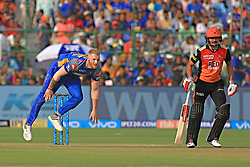 April 29, 2018 - Jaipur, Rajasthan, India - Rajasthan Royals bowler Ben Stokes bowls during the IPL T20 match against Sunrisers  Hyderabad at Sawai Mansingh Stadium in Jaipur on 29th April,2018. (Credit Image: © Vishal Bhatnagar/NurPhoto via ZUMA Press)