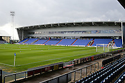Empty stadium before the EFL Cup match between Oldham Athletic and Wigan Athletic at Boundary Park, Oldham, England on 9 August 2016. Photo by Simon Brady.