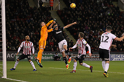 February 13, 2019 - Sheffield, South Yorkshire, United Kingdom - SHEFFIELD, UK 13TH FEBRUARY Dean Henderson of Sheffield United punches clear from Middlesbrough's Daniel Ayala  during the Sky Bet Championship match between Sheffield United and Middlesbrough at Bramall Lane, Sheffield on Wednesday 13th February 2019. (Credit: Mark Fletcher | MI News) (Credit Image: © Mi News/NurPhoto via ZUMA Press)