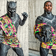 Cosplayer in his Tichaka from Black Panther movie costume at the New York Comic Con.<br /> <br /> More than 200,000 people attended the event dressed up as their favorite superhero to celebrate comic books, sci-fi and video games.<br /> <br /> The New York Comic Con convention, is a  celebration of comic books, graphic novels, sci-fi and video games, toys, movies and television.