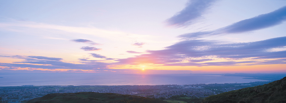 Edinburgh Dawn from Arthurs Seat overlooking Mussleburgh and Portobello