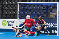 Hampstead & Westminster's Mikie Watt. Wimbledon v Hampstead & Westminster - Men's Hockey League Finals, Lee Valley Hockey & Tennis Centre, London, UK on 28 April 2018. Photo: Simon Parker