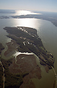 Aerial view: Jamestown Island on the James River, October 2000. This view is facing down river to the East. Part of the Chesapeake Bay watershed.