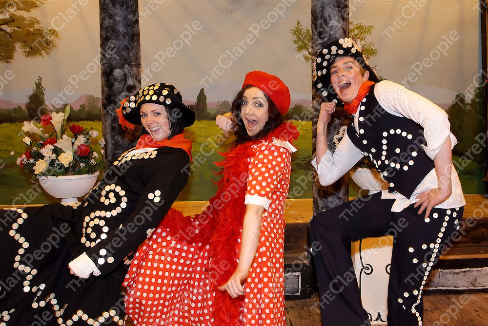 Pictured during the Ennistymon Musical Society Dress Rehearsal in Lachinch were: Jennifer Curtin, Maeve Curry, Shane Eagany. <br />