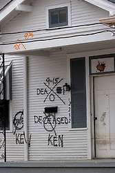 10 December, 05. New Orleans, Louisiana. Post Katrina aftermath.<br /> Deceased. The front porch of a house in Gentilly where sadly a victim of the storm perished.<br /> Photo; &copy;Charlie Varley/varleypix.com